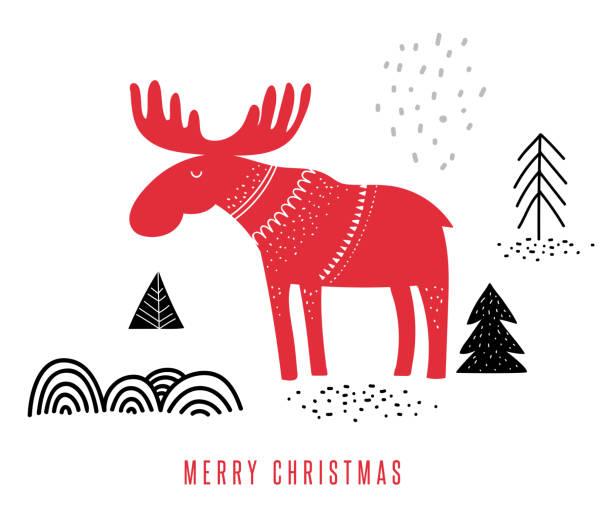 bildbanksillustrationer, clip art samt tecknat material och ikoner med jul, vinter illustration med älg - älg sverige