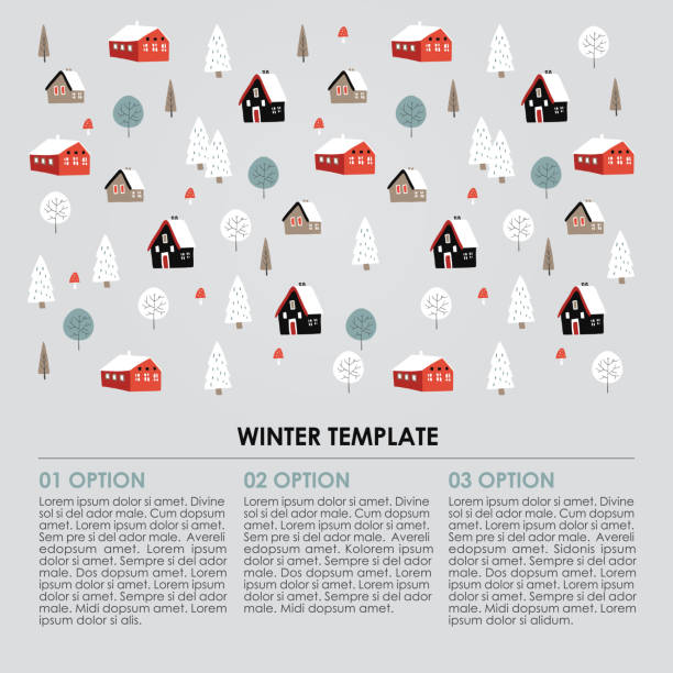 Christmas winter infographics template. Snowy landscape with hand drawn trees and houses. Vector illustration background Christmas winter infographics template. Snowy landscape with hand drawn trees and houses, vector illustration background. village stock illustrations