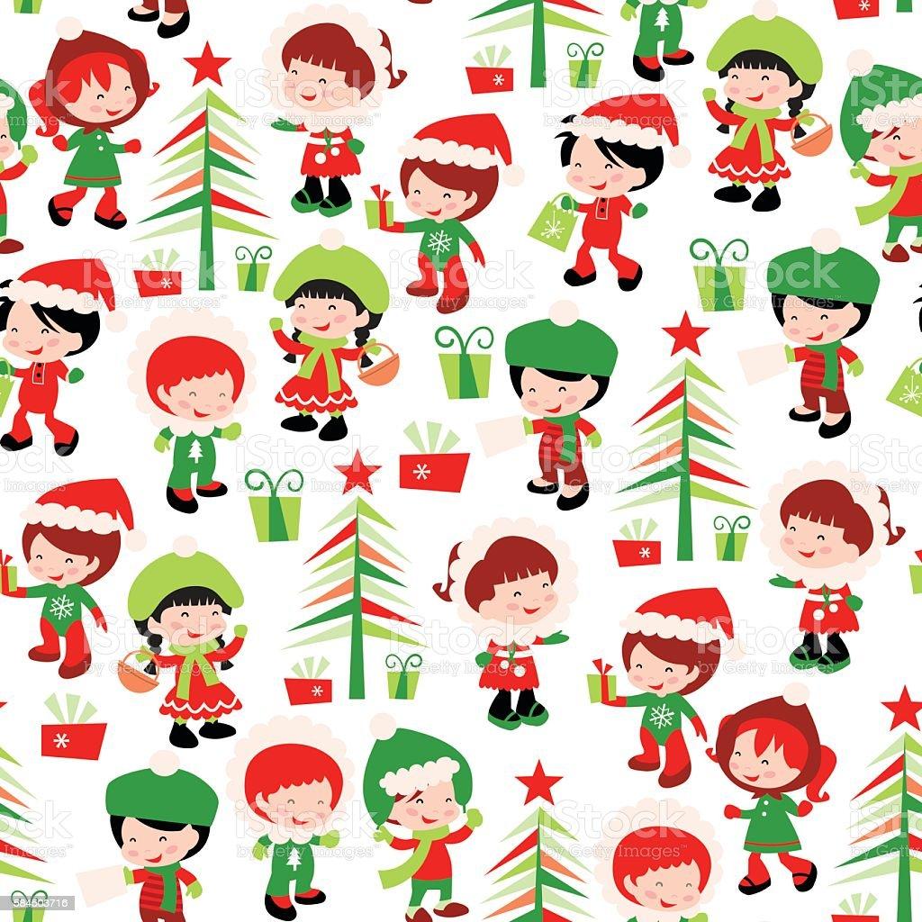 Christmas Winter Kids Seamless Pattern Background Stock Vector Art ...
