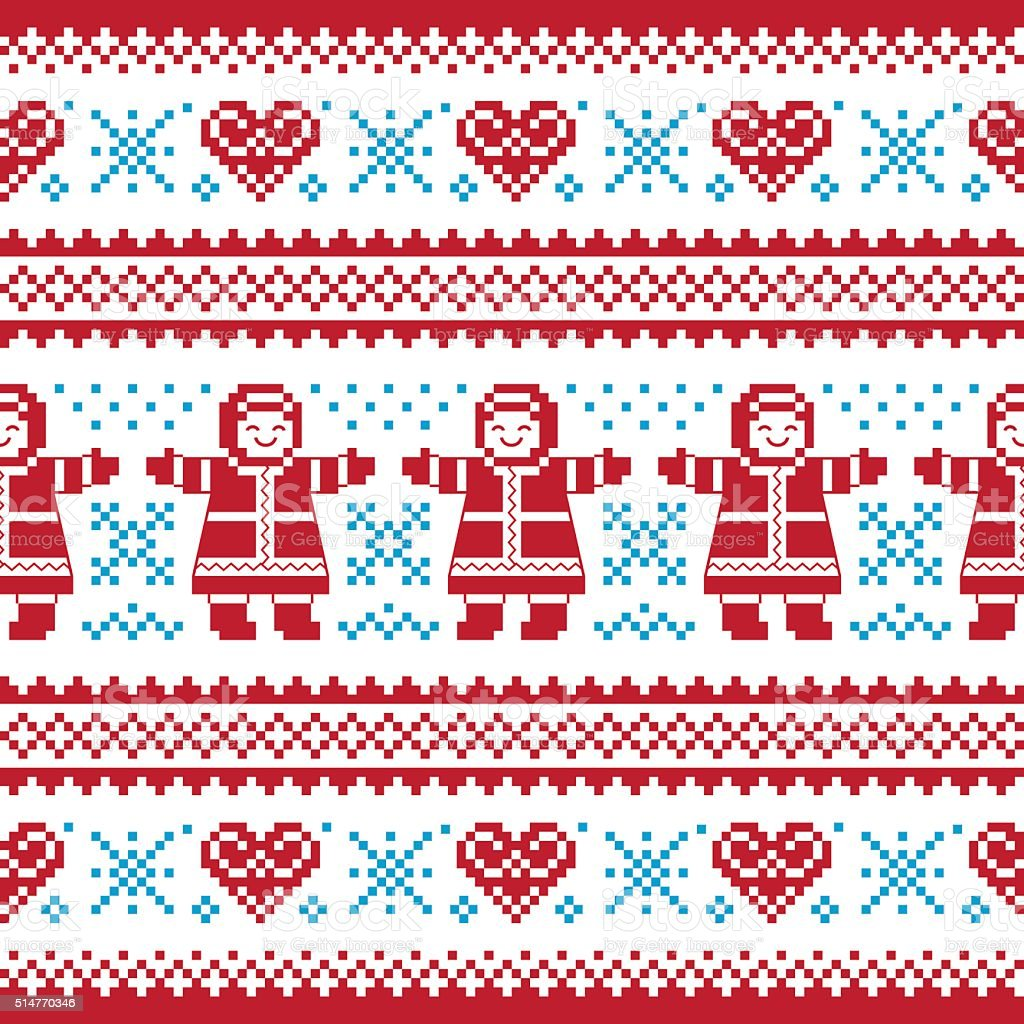 Christmas, Winter knitted pattern, card - scandynavian sweater style vector art illustration