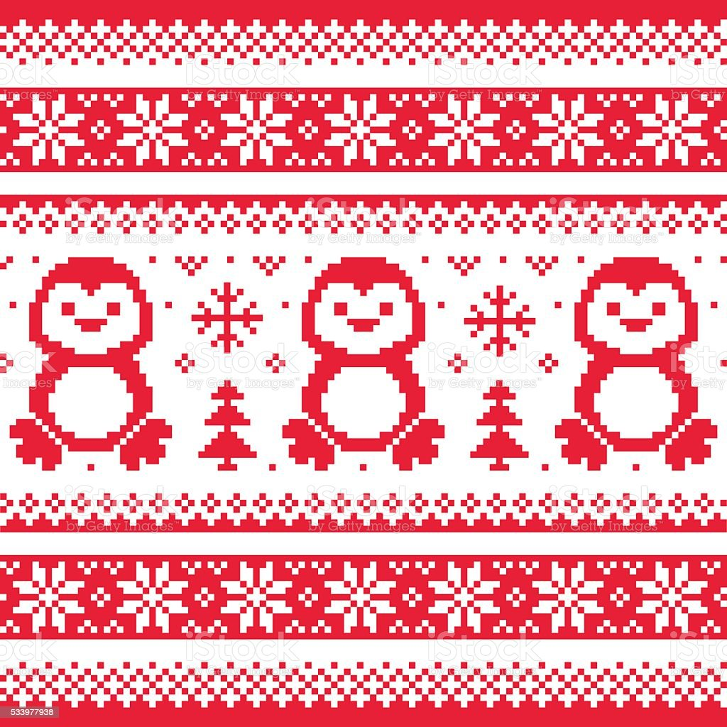 Christmas winter knitted pattern with penguins scandinavian christmas winter knitted pattern with penguins scandinavian sweater style royalty free stock vector bankloansurffo Images