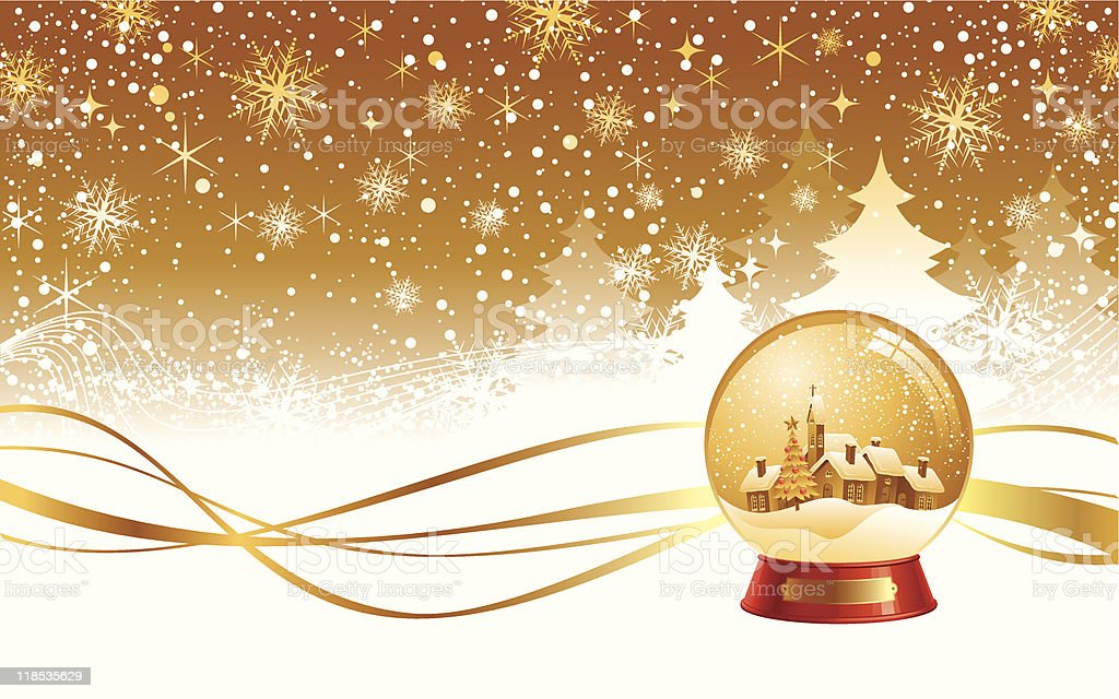 Christmas winter landscape and snow globe royalty-free stock vector art