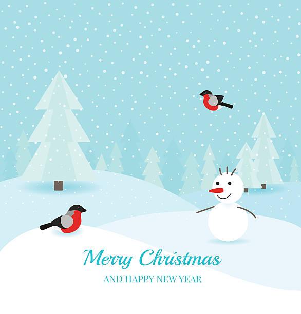 weihnachten winter-landschaft-hintergrund - dompfaff stock-grafiken, -clipart, -cartoons und -symbole