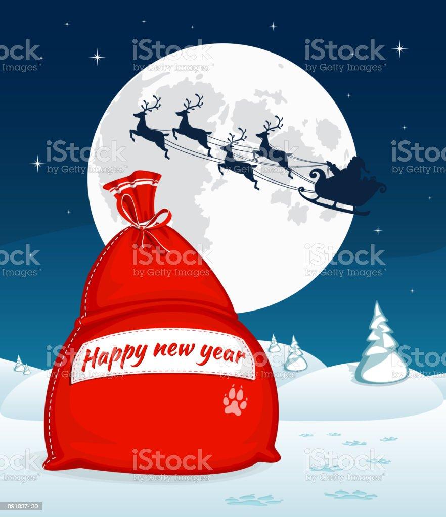 Jul vinter landskap med stora röda påse med presenter. Santa flyga med rensläde. Fullmånen och stjärnorna i bakgrunden. Symbol för jul och nyår. Vektorillustration. Tecknad stil - Royaltyfri 2018 vektorgrafik