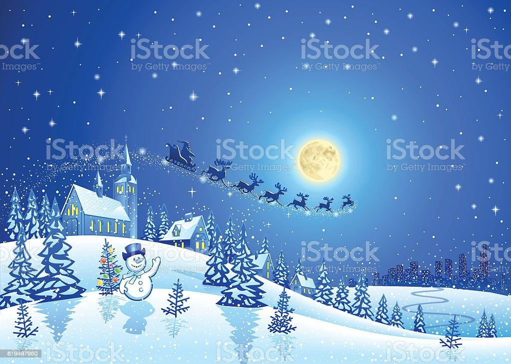 Christmas Winter Landscape with Santa Sleigh vector art illustration