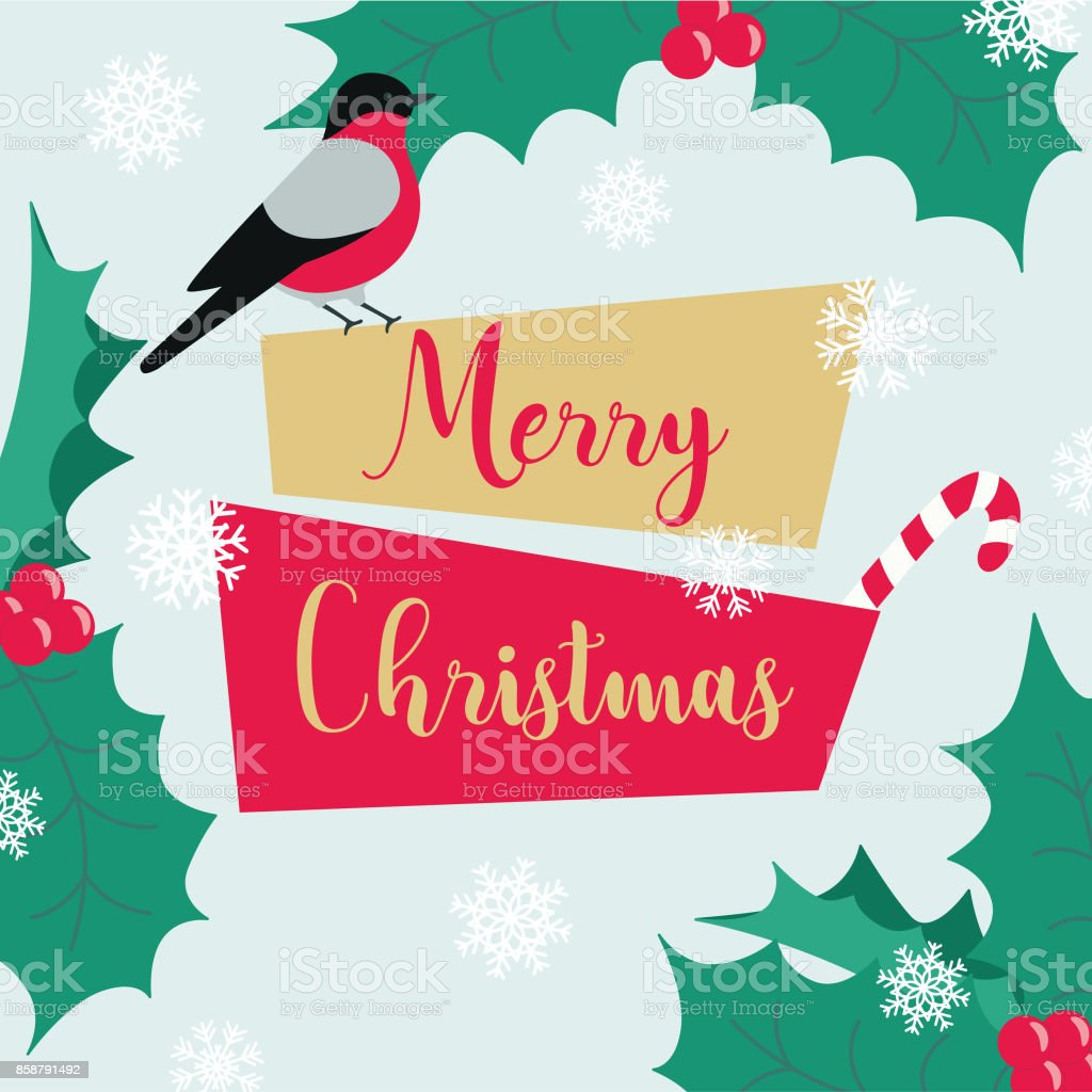 christmas winter new year banner template with geometric label bird snowflakes