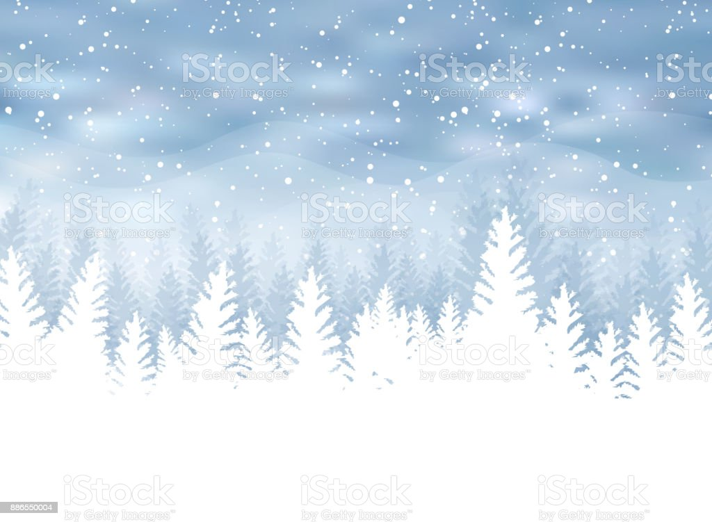 Christmas winter on blue background. White snow with snowflakes on silver bright light. Christmas tree. vector art illustration