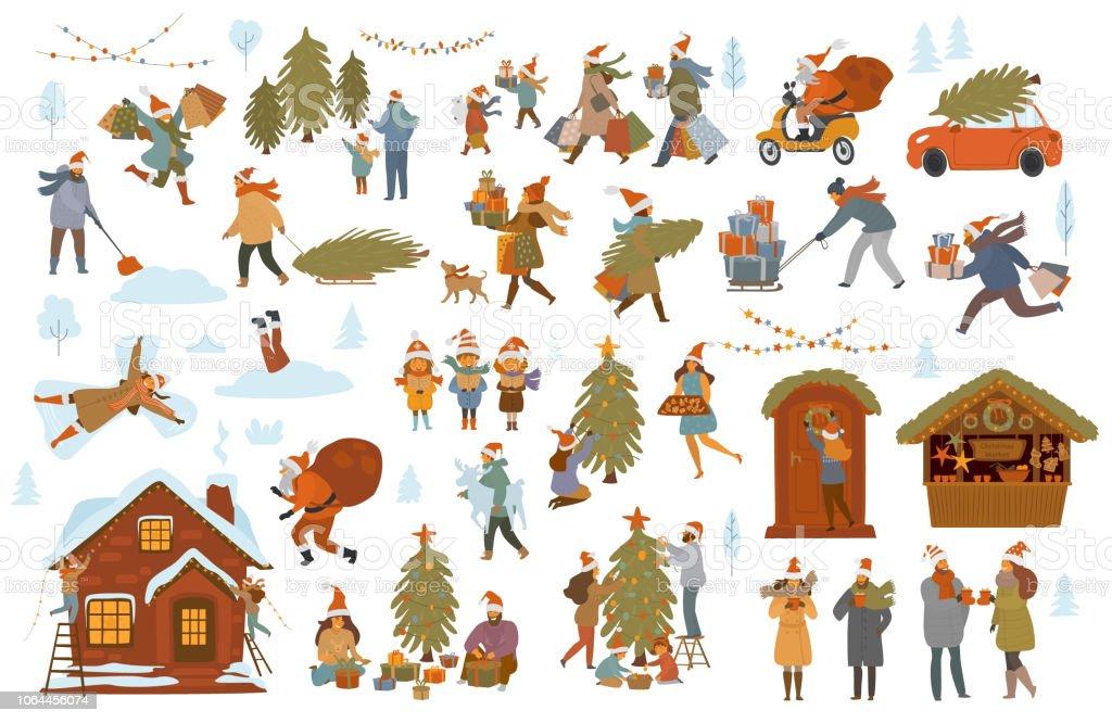 natale inverno persone set, uomini donne bambini coppia di famiglia prepararsi per la celebrazione di Natale, scegliere acquistare decorare albero e casa con luci, shopping walk pack regali - arte vettoriale royalty-free di Accudire
