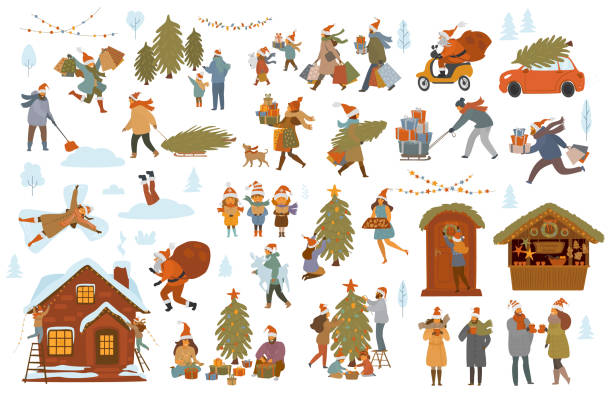 christmas winter people set, men women children family couple prepare for xmas celebration, choose buy decorate tree and house with lights, shopping walk pack presents - family dinner stock illustrations