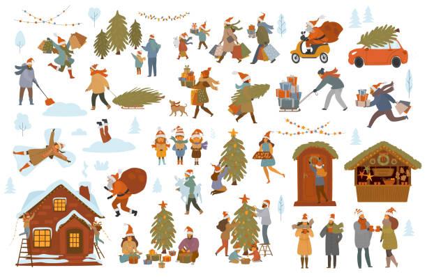 illustrazioni stock, clip art, cartoni animati e icone di tendenza di natale inverno persone set, uomini donne bambini coppia di famiglia prepararsi per la celebrazione di natale, scegliere acquistare decorare albero e casa con luci, shopping walk pack regali - christmas cooking