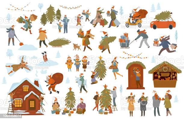 Natale Inverno Persone Set Uomini Donne Bambini Coppia Di Famiglia Prepararsi Per La Celebrazione Di Natale Scegliere Acquistare Decorare Albero E Casa Con Luci Shopping Walk Pack Regali - Immagini vettoriali stock e altre immagini di Accudire