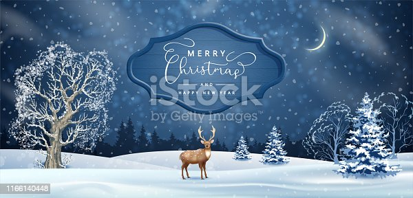 Christmas night background. Vector winter landscape. Frosty tree, snow-covered hills, wooden signboard and a deer