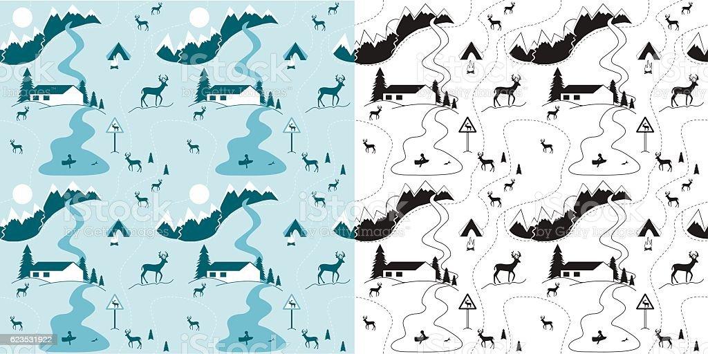 Christmas winter seamless pattern. vector art illustration