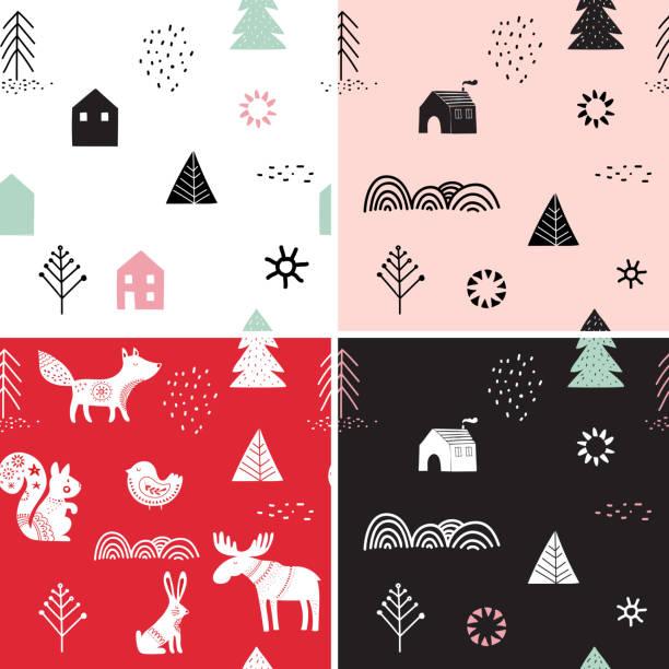 bildbanksillustrationer, clip art samt tecknat material och ikoner med jul, vinter sömlösa mönster set, handen ritade element - älg sverige