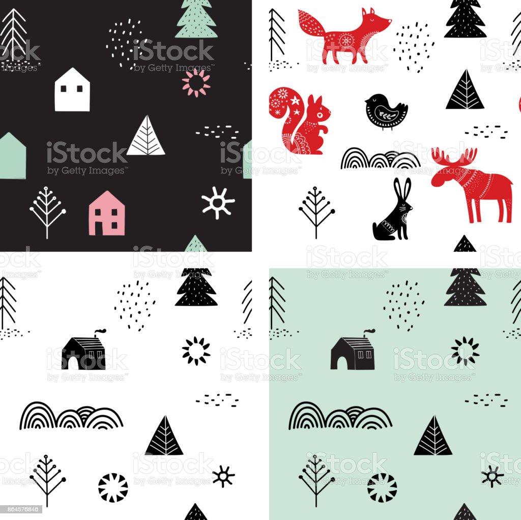 Christmas, winter seamless patterns set, hand drawn elements vector art illustration