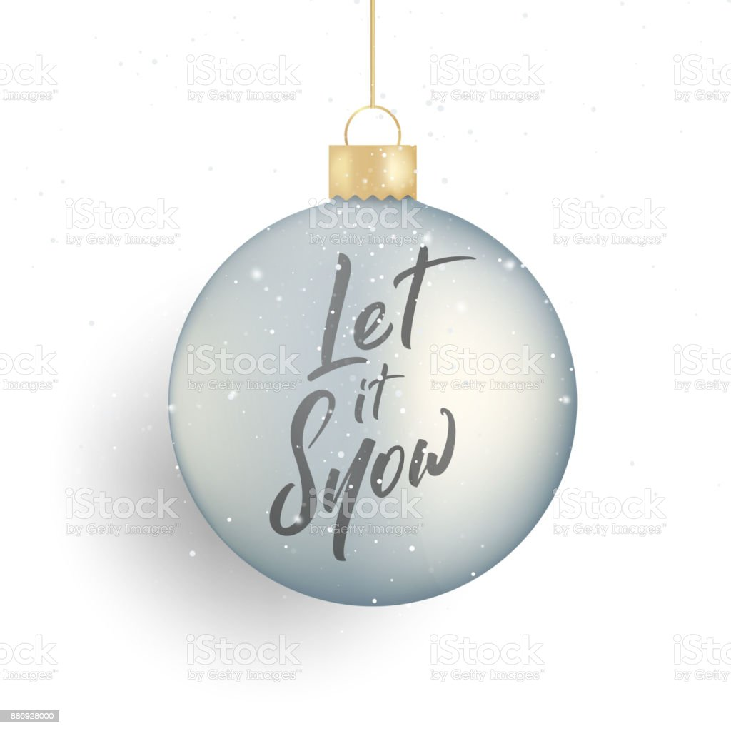 Christmas Winter Seasonal Script Lettering Let It Snow And Realistic ...
