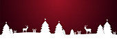 Christmas winter snow landscape silhouette with christmas trees and reindeers on red stars background