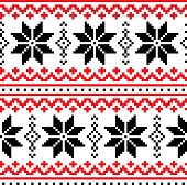Xmas red and black, wallpaper, festive background with hearts and snowflakes, Nordic decoration