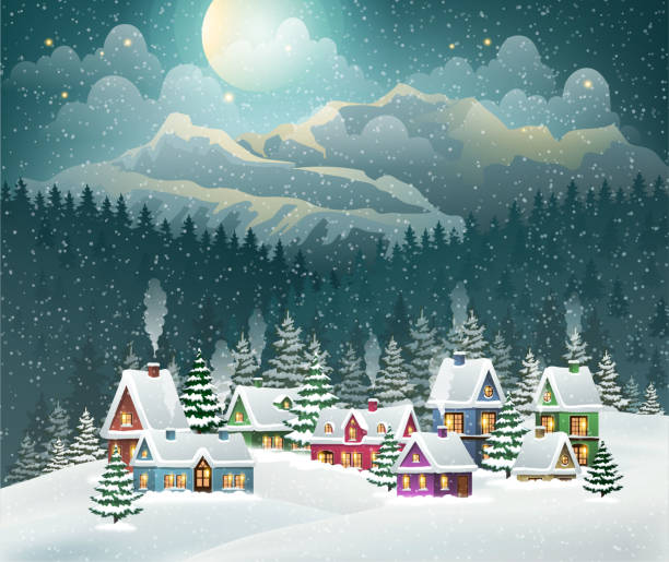 Christmas winter village and mountains. Evening village winter landscape with snow covered houses and mountains. Christmas holidays vector illustration village stock illustrations