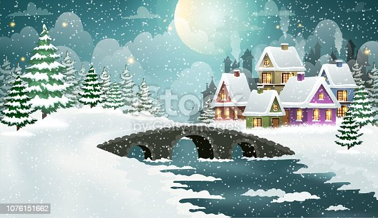 Evening city winter landscape with snow-covered houses and bridge over frozen river on the foreground. Christmas holidays vector illustration