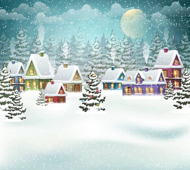 stockillustraties, clipart, cartoons en iconen met christmas winter village - christmas cabin
