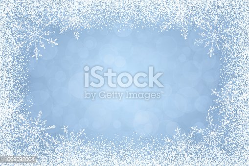 Christmas - Winter wite frame with snow and snowflakes on soft blue background. The eps file is organised into layers for the background, the frame, and the snowflakes. Every single snowflake is a separate grouped object.