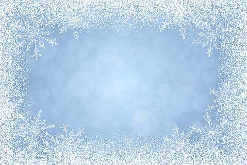 Christmas - Winter white frame on light blue background