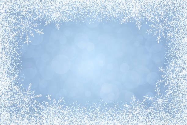 크리스마스-밝은 파란색 배경에 백색 겨울 프레임 - 서리 stock illustrations