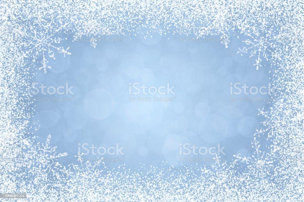 Christmas - Winter white frame on light blue background vector art illustration