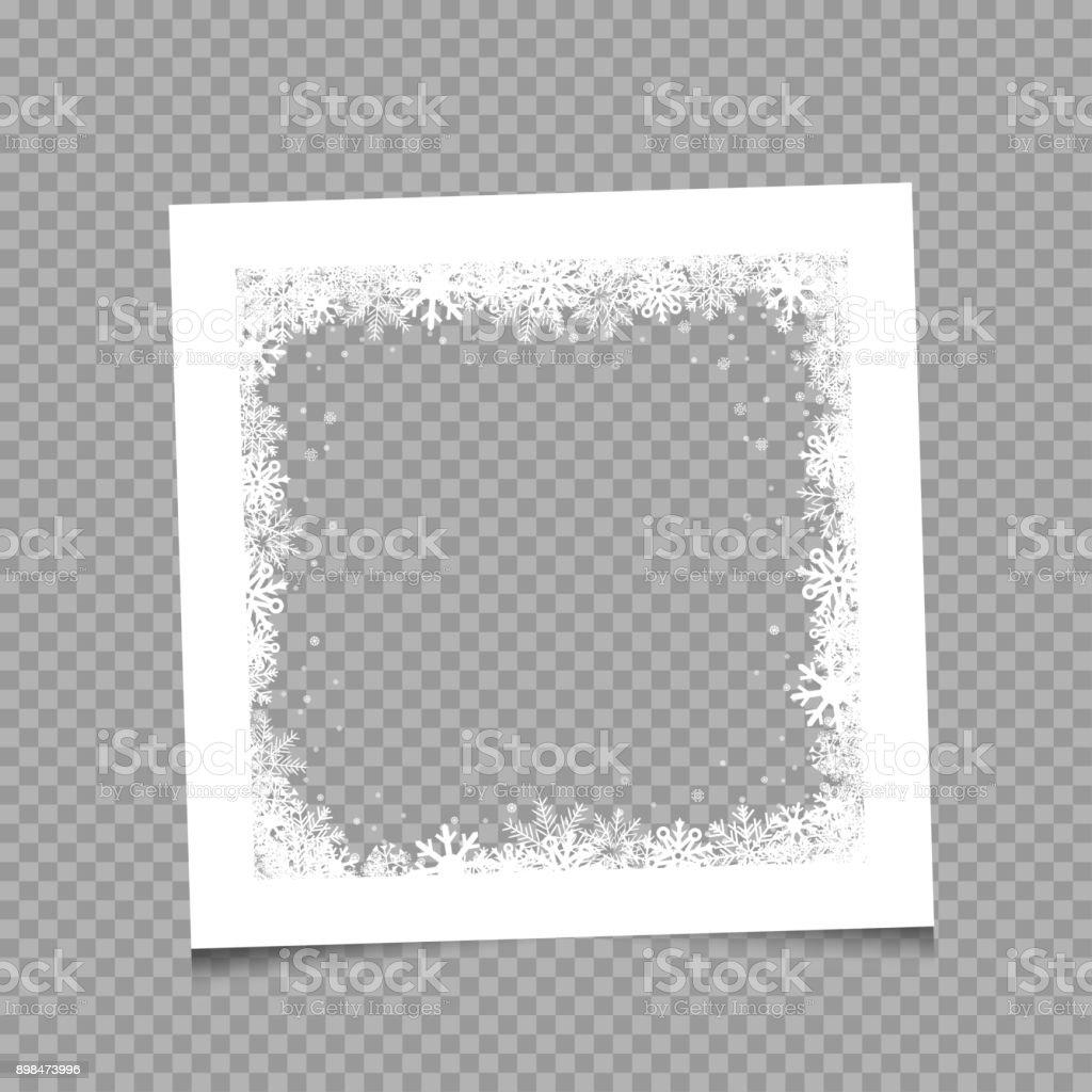 Cadre photo blanc de Noël hiver - Illustration vectorielle