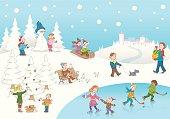Christmas winterscene kids playing snow