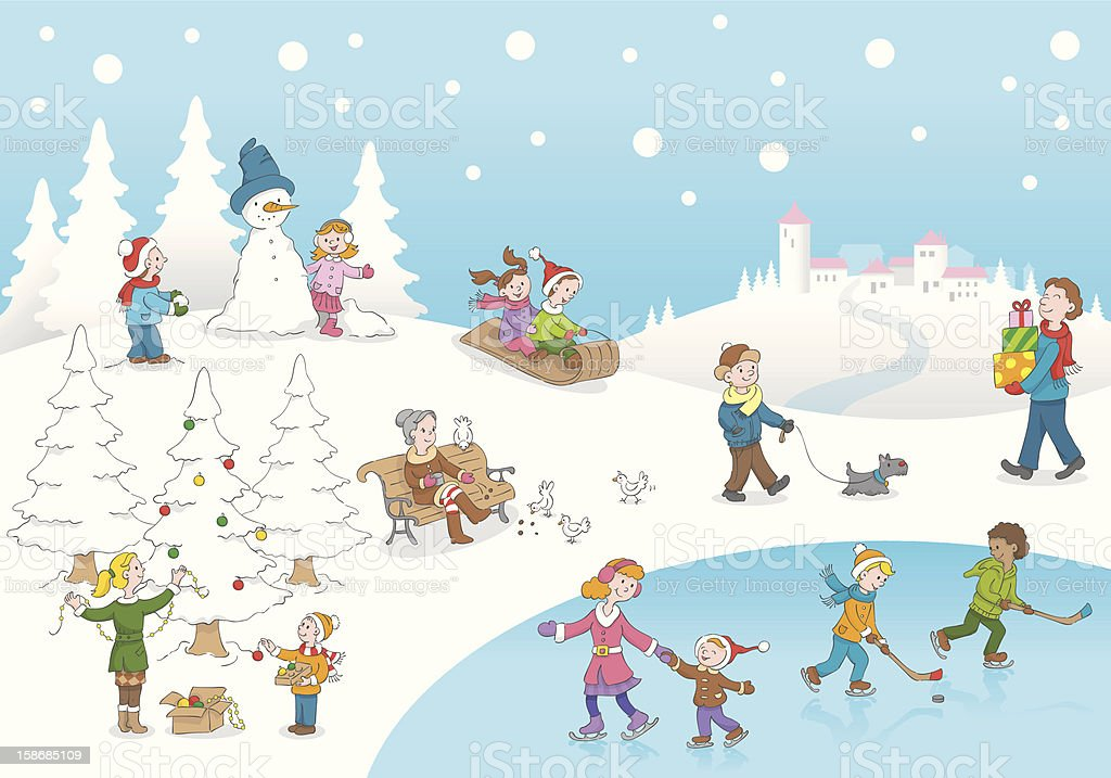 Christmas winterscene kids playing snow vector art illustration