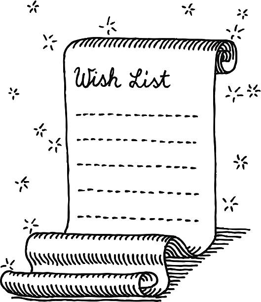 Christmas Wish List Curly Paper Drawing Hand-drawn vector drawing of a Christmas Wish List. Black-and-White sketch on a transparent background (.eps-file). Included files are EPS (v10) and Hi-Res JPG. celebration stock illustrations