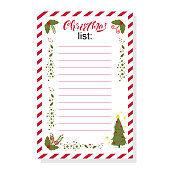 Christmas list vector illustration.