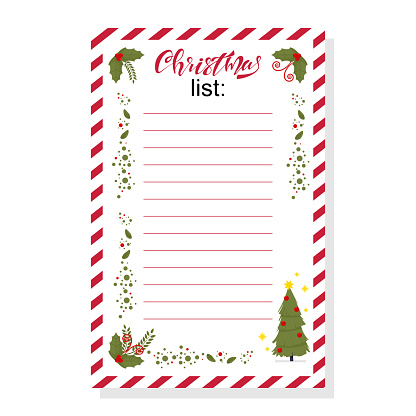 Christmas wish list with holly berry leaves and holiday tree vector template isolated on white background. clipart