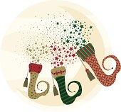 illustration of christmas socks with stars.