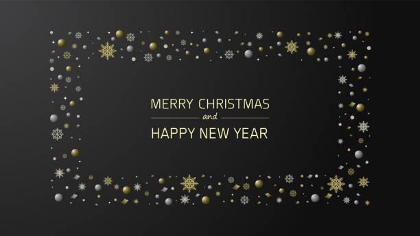 Souhaits de Noel avec ornements d'or et d'argent - Illustration vectorielle