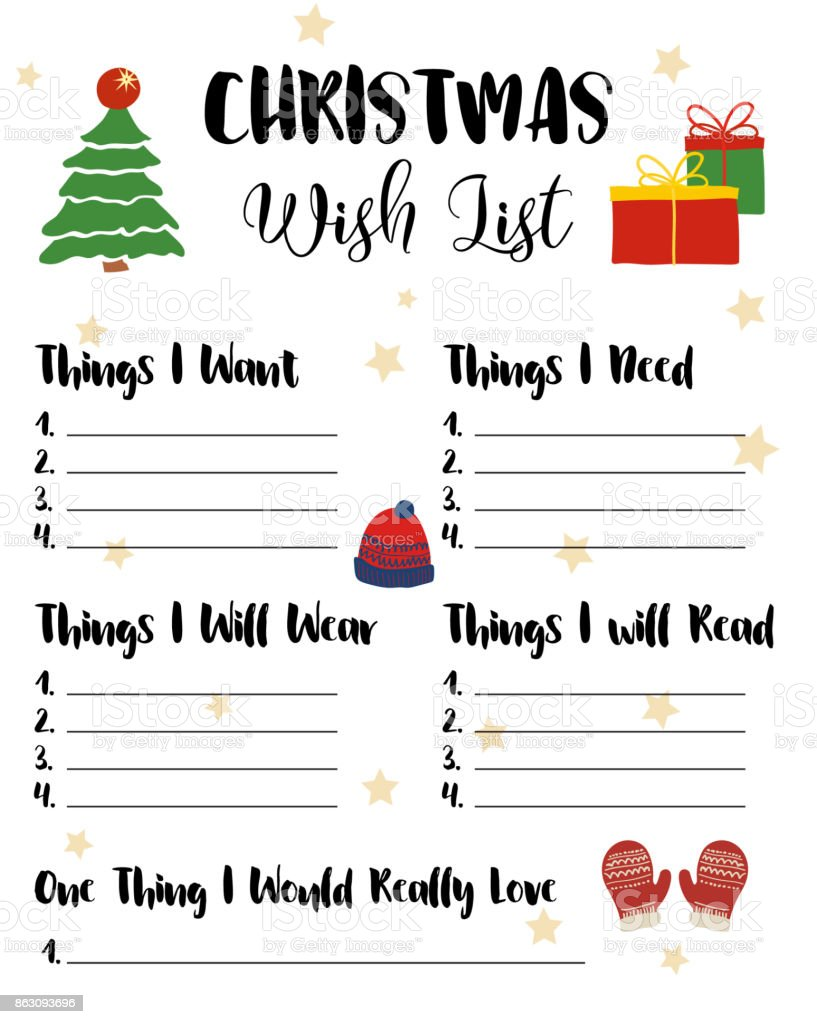 Christmas Wishlist For Kids, Vector Illustration. Cute Cartoon Hand Drawn  Elements, Presents,  Kids Christmas List Template