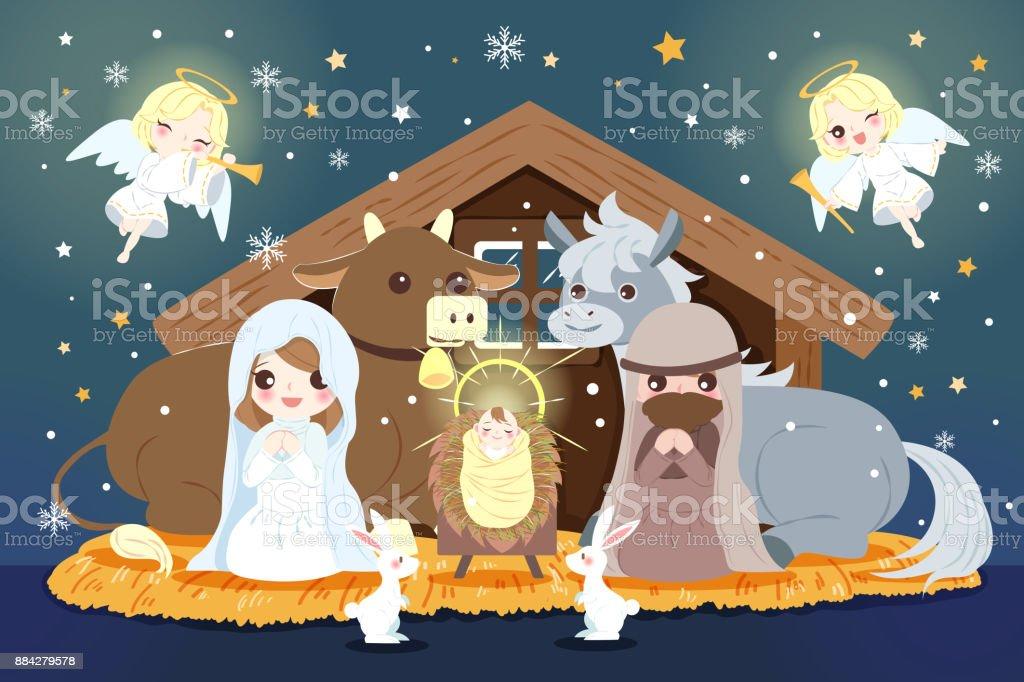 Weihnachten Mit Dem Jesuskind Stock Vektor Art und mehr Bilder von ...