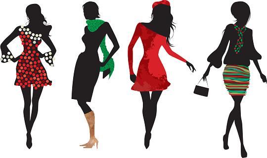 Christmas women silhouettes