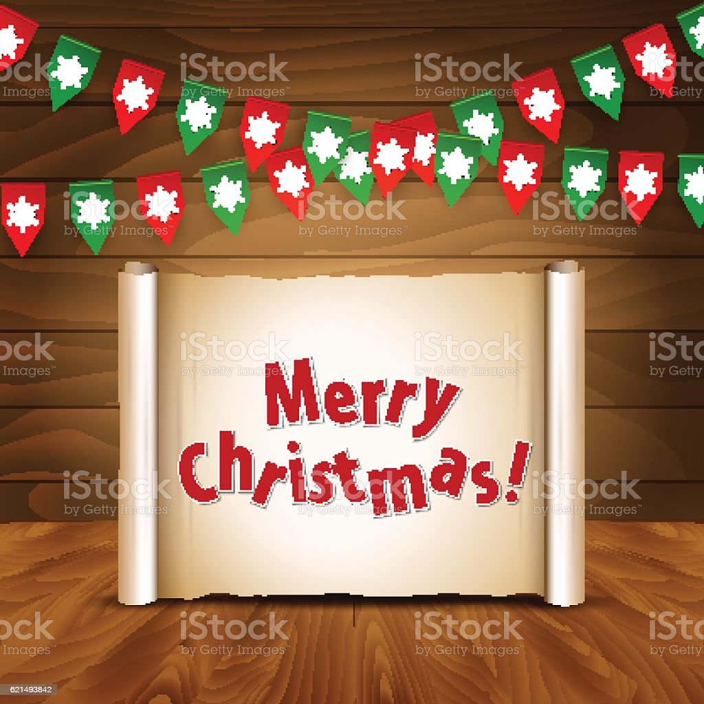 Christmas wooden background with bunting postcard christmas wooden background with bunting postcard – cliparts vectoriels et plus d'images de bordure libre de droits
