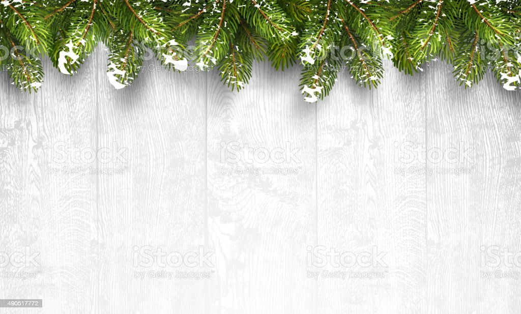Christmas wooden background with fir branches vector art illustration