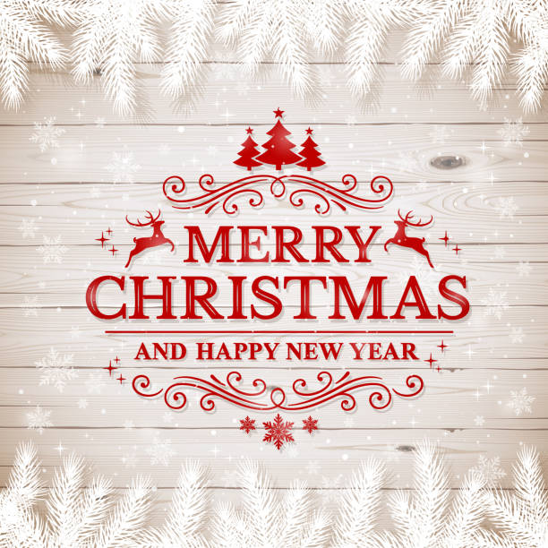 ilustrações de stock, clip art, desenhos animados e ícones de christmas wooden background with white fir branches and text merry christmas - christmas table
