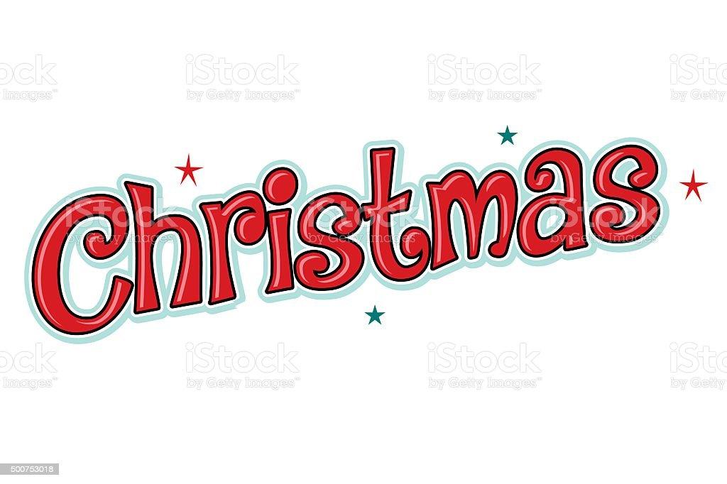 Christmas word headline, fun, red with stars vector art illustration
