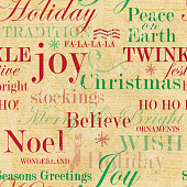 Vector illustration of a repeating seamless background of Holiday themed words.