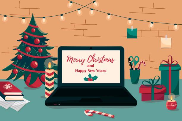ilustrações de stock, clip art, desenhos animados e ícones de christmas workplace. new year workplace interior. - christmas table