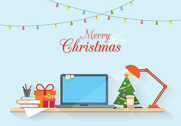 weihnachten arbeitsplatz. - firmenweihnachtsfeier stock-grafiken, -clipart, -cartoons und -symbole