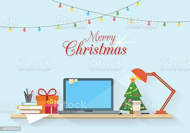 Рождество На Рабочем Месте — стоковая векторная графика и другие изображения на тему 2015