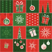 Seamless pattern in red and green colours for your Christmas design. All objects are grouped for easy editing.