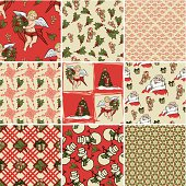 A collection of Christmas wrapping papers, 9 seamless pattern. (ZIP contains: AI8, CDR8, PDF)